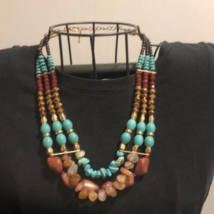 Brown, teal, and gold bead necklace